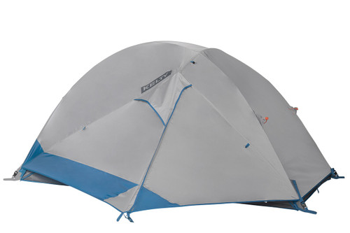 Kelty Night Owl 3 person tent, blue, with white rain fly attached and fully closed