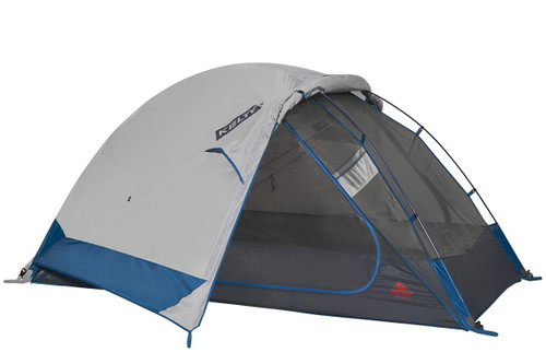 Kelty Night Owl 3 person tent, blue, with rain fly attached and partially rolled back