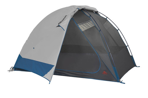 Kelty Night Owl 4 person tent, blue, with rain fly attached and partially rolled back