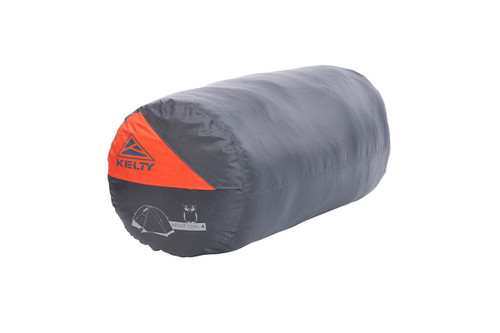 Kelty Night Owl 4 person tent, packed in grey cylinder-shaped storage bag