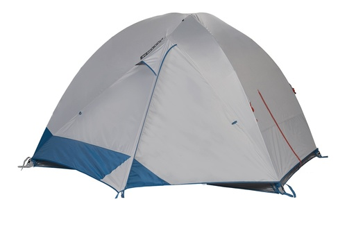 Kelty Night Owl 4 person tent, blue, with white rain fly attached and fully closed