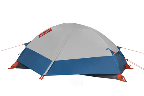 Kelty Late Start 1 person tent, dark gray, with white/blue rain fly attached and fully closed