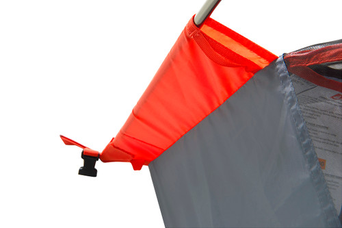 Close up of Kelty Late Start 2 person tent, showing orange pole sleeve from above