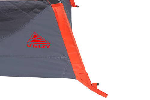Close up of Kelty Late Start 2 person tent, showing orange pole sleeve from the side