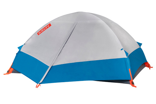 Kelty Late Start 2 person tent, dark gray, with white/blue rain fly attached and fully closed