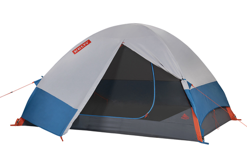 Kelty Late Start 4 person tent, dark gray, with white/blue rain fly attached and flap opened