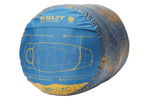 Kelty Tru.Comfort 20 sleeping bag, shown packed inside blue cylinder-shaped storage bag