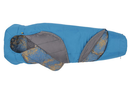 Kelty Tru.Comfort 20 sleeping bag, blue, shown partially unzipped at both the top of bag and the bottom
