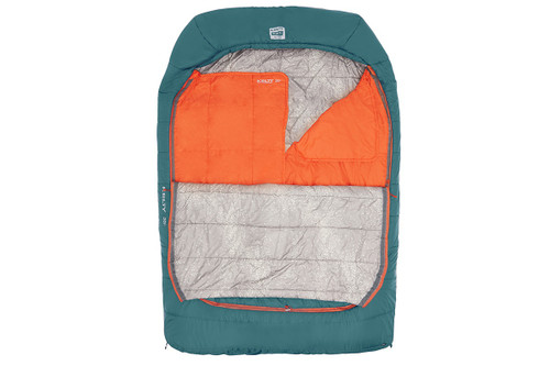 Kelty Tru.Comfort Doublewide 20, Deep Teal, unzipped half length to show gray interior fabric and orange 'snuggle blankets'
