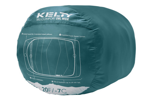 Kelty Tru.Comfort Doublewide 20, shown packed in teal cylinder-shaped storage bag