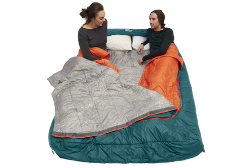 Couple sitting in Kelty Tru.Comfort Doublewide 20 with bag partially unzipped