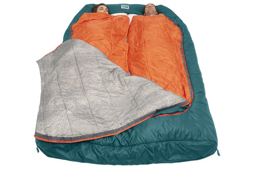 Couple sleeping in Kelty Tru.Comfort Doublewide 20 with bag partially unzipped to show individual 'snuggle blankets'