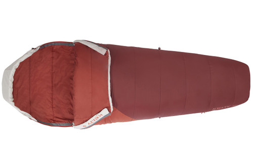 Kelty Women's Stardust 30 sleeping bag, unzipped quarter length on both sides of bag to show red interior fabric