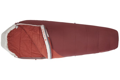 Kelty Women's Stardust 30 sleeping bag, unzipped quarter length on one side of bag to show red interior fabric