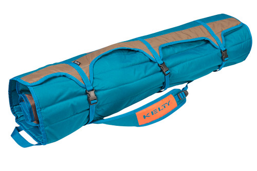 Close up of Kelty Deluxe Lounge Chair, packed inside padded storage tote, with all straps buckled
