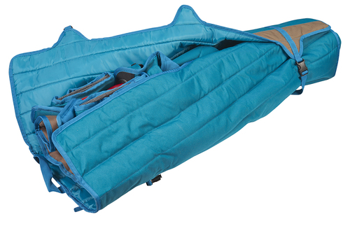 Close up of Kelty Deluxe Lounge Chair, packed inside padded storage tote, partially opened, with 2 of 3 straps unbuckled