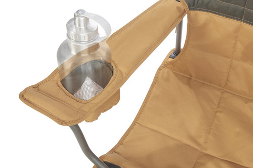 Close up of Kelty Loveseat 2-person camping chair, showing large water bottle in armrest pocket