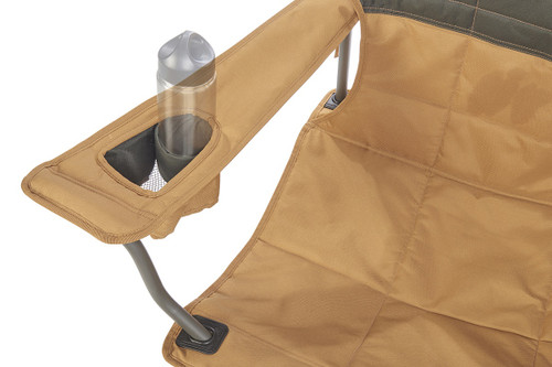 Close up of Kelty Loveseat 2-person camping chair, showing small water bottle in armrest pocket