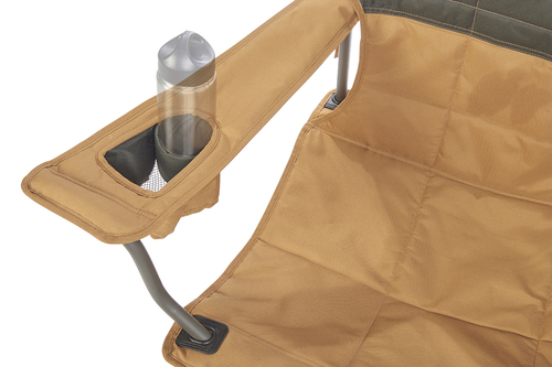 Close up of Kelty Essential Chair, Canyon Brown, showing small water bottle in armrest pocket