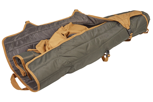 Kelty Essential Chair, Canyon Brown, packed inside padded tote, partially unbuckled and opened