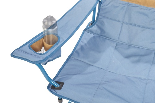 Close up of Kelty Low Loveseat 2-person camping chair, showing small water bottle in armrest pocket