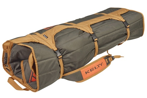 Kelty Low Loveseat 2-person camping chair, Canyon Brown, packed in roll-tote, fully buckled and closed