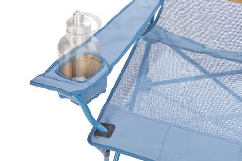 Close up of Kelty Mesh Low Loveseat 2-person camping chair, showing large water bottle in armrest pocket