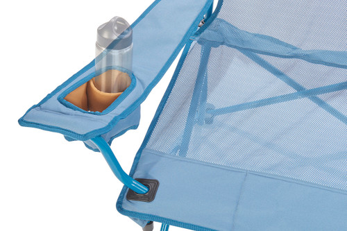 Close up of Kelty Mesh Low Loveseat 2-person camping chair, showing small water bottle in armrest pocket