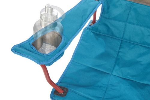 Close up of  Kelty Lowdown camping chair, Deep Lake, showing large water bottle in armrest pocket