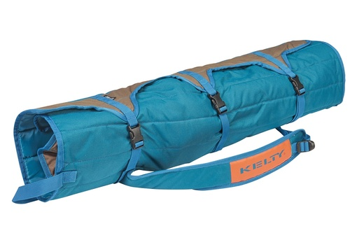 Kelty Lowdown camping chair, Deep Lake, packed in roll-tote, fully buckled and closed