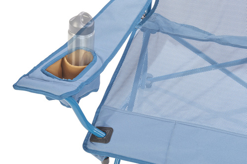 Close up of  Kelty Mesh Lowdown Chair, Tapestry, showing small water bottle in armrest pocket
