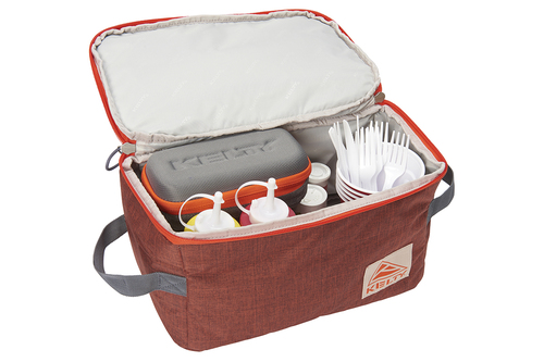 Kelty Wee G storage bag, orange, unzipped to show bottles of condiments and other picnic items packed inside