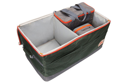 Kelty Big G storage bag, green colorway, opened, showing how smaller sizes can be nested inside