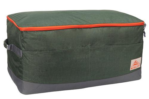 Kelty Big G storage bag, green colorway, 3/4 view, closed