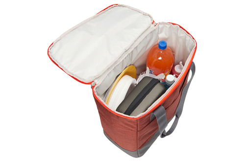Kelty Lil G storage bag, orange with gray carrying handles, opened to show interior with 2-liter bottle of soda, plates, and other picnic supplies
