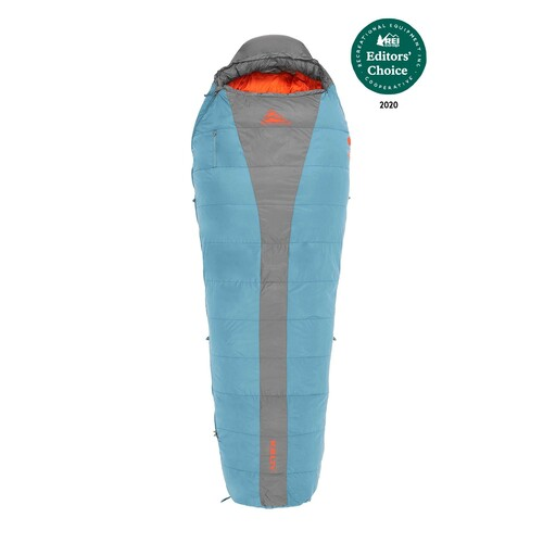 Kelty Cosmic 20 sleeping bag, light blue with gray stripe, fully closed, with REI award logo
