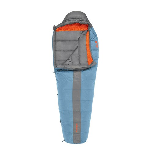 Kelty Cosmic 20 sleeping bag, light blue with gray stripe, opened quarter length to show gray interior