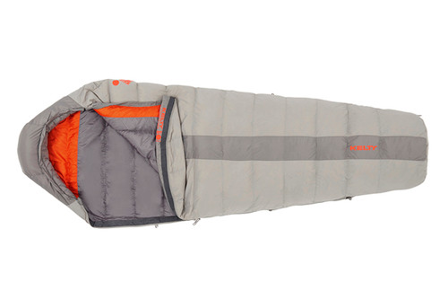 Kelty Cosmic 40 sleeping bag, light gray with dark gray stripe, opened quarter length to show dark gray and orange interior fabric