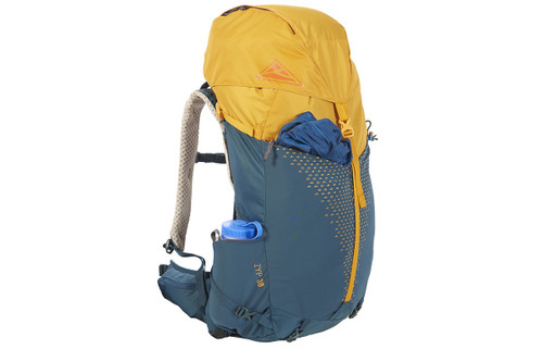 Kelty Zyp 38 backpack, Sunflower, side view, with large water bottle stored in side pocket