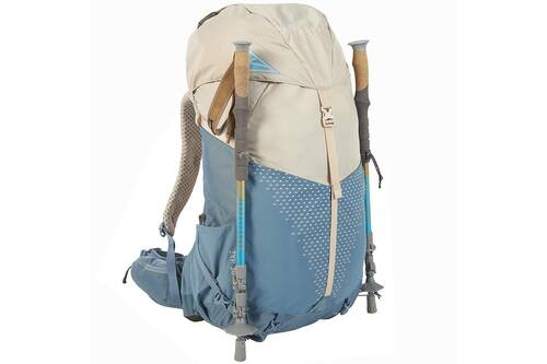 Kelty Women's Zyp 38, Sand, with trekking poles attached to sides of pack