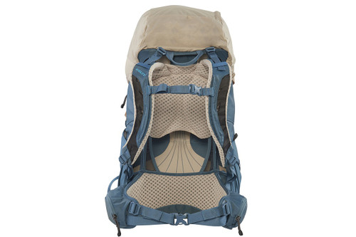 Kelty Women's Zyp 48 backpack, sand, rear view, with waist belt buckled