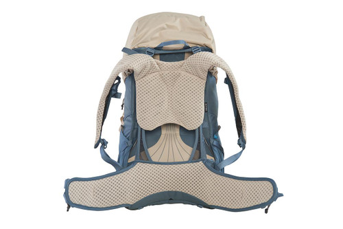 Kelty Women's Zyp 48 backpack, sand, rear view, with waist belt unbuckled