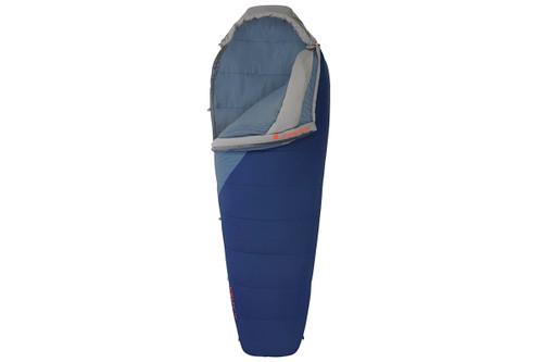 Kelty Stardust 15 sleeping bag, blue, shown unzipped quarter length on one side of bag