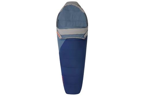 Kelty Stardust 15 sleeping bag, blue, shown unzipped quarter length on on both sides of bag