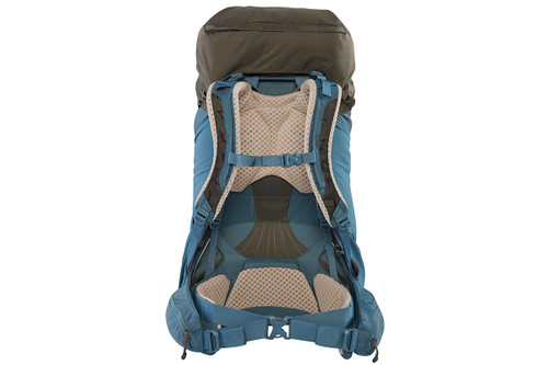 Kelty Women's Zyro 64 backpack, Beluga/Tapestry, rear view, with waist belt buckled