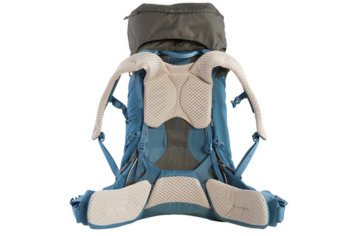 Kelty Women's Zyro 64 backpack, Beluga/Tapestry, rear view, with waist belt unbuckled