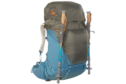 Kelty Women's Zyro 64 backpack, Beluga/Tapestry, with trekking poles attached to sides of pack
