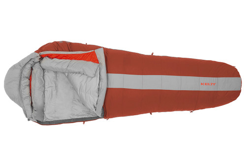 Kelty Cosmic 0 sleeping bag, red with gray stripe, opened quarter length to show gray interior