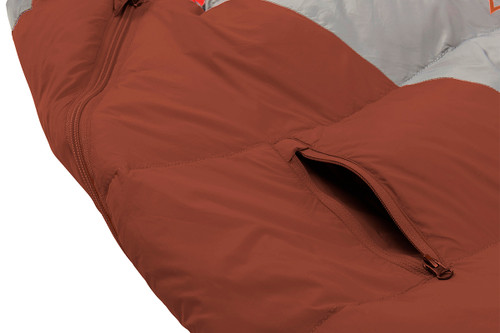 Close up of Kelty Cosmic 0 sleeping bag, showing small exterior zipper pocket