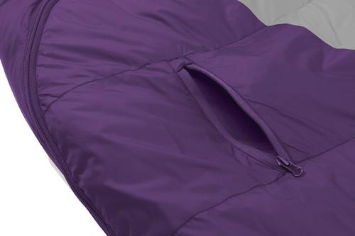 Close up of Kelty Women's Cosmic 20 sleeping bag, showing small external zipper pocket